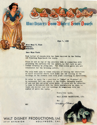 Rejection Letter from Disney